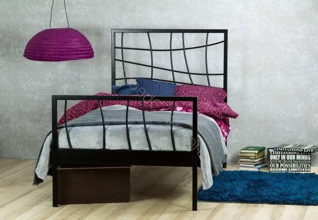 łóżko Metalowe Jednoosobowe Ebru Z Dwoma Szczytami