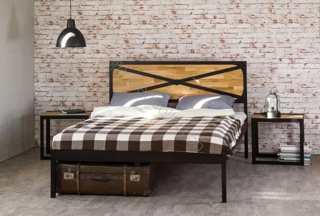 łóżko Drewniane Z Ramą Metalową Loft 3 Z Jednym Szczytem