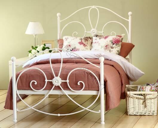 łóżko Metalowe Kute Jednoosobowe Wivian Z Dwoma Szczytami