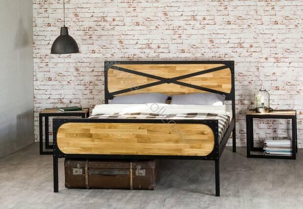łóżko Drewniane Z Ramą Metalową Loft 3 Z Dwoma Szczytami