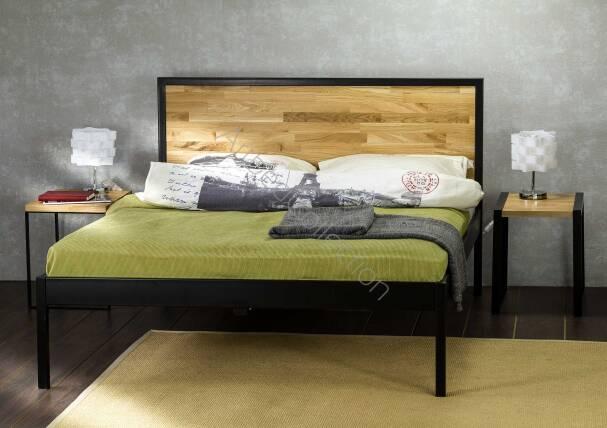 łóżko Drewniane Z Ramą Metalową Hitomi Z Jednym Szczytem