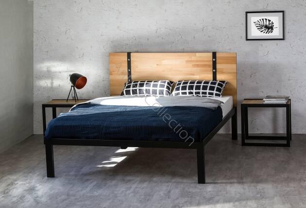 łóżko Drewniane Z Ramą Metalową Akira Z Jednym Szczytem