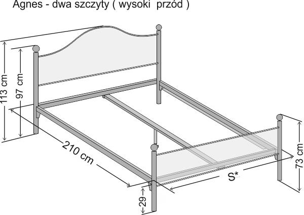 Wymiary łóżka metalowego dwuoosobowego Agnes z dwoma szczytami