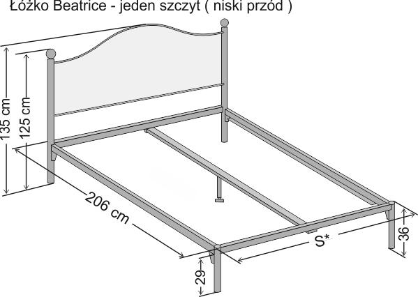 łóżko Kute Beatrice Z Jednym Szczytem łóżka Metalowe