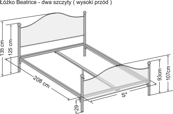 łóżko Metalowe Kute Beatrice Dwa Szczyty łóżka