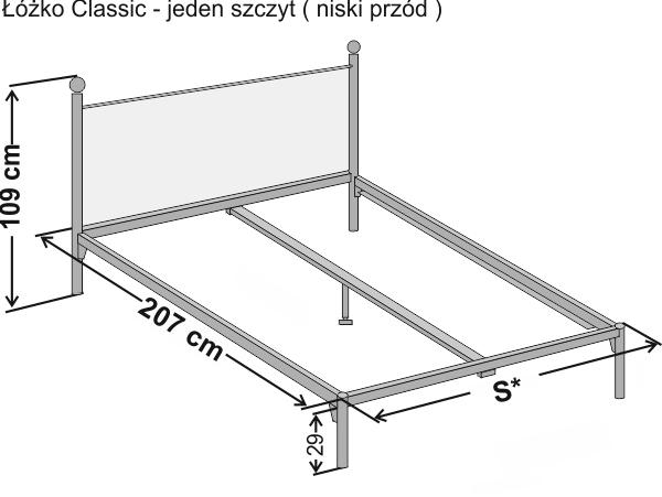 Wymiary łóżka metalowego dwuoosobowego CLASSIC