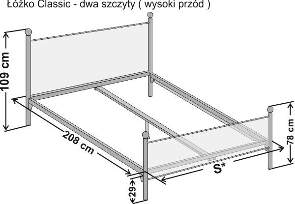 Wymiary łóżka metalowego Classic z dwoma szczytami