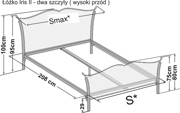 Wymiary łóżka metalowego dwuosobowego Iris 2 z dwoma szczytami