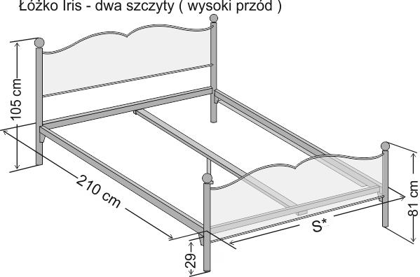 Wymiary łóżka metalowego dwuoosobowego Iris z dwoma szczytami