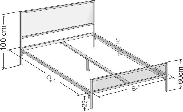 Wymiary łóżka metalowego dwuoosobowego Loft 2