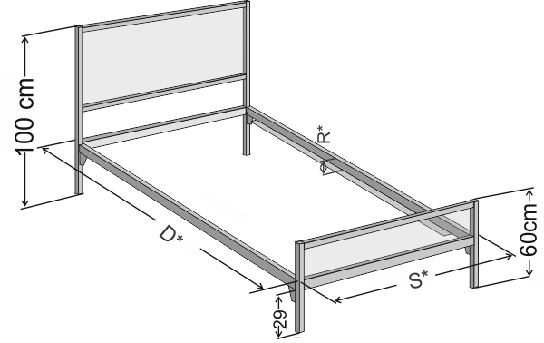 Wymiary industrialnego łóżka jednoosobowego 90x200cm