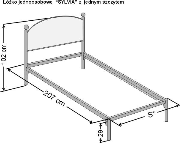 Wymiary łóżka kutego dwuosobowego Sylwia
