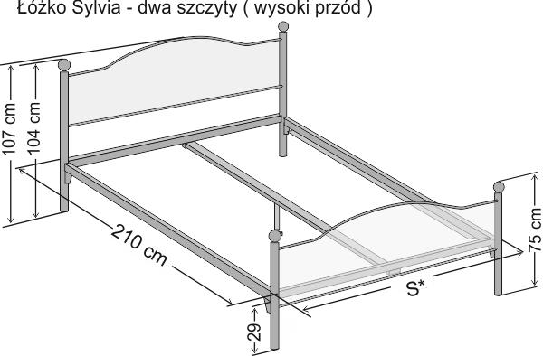 Wymiary łóżka metalowego dwuosobowego Sylvia z dwoma szczytami