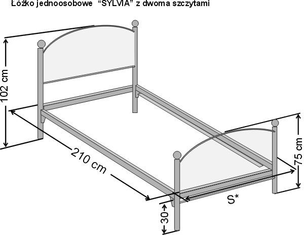 Wymiary łóżka metaloweg kutego dwuosobowego Sylwia