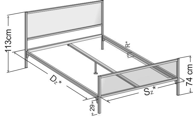 Dokładne wymiary łóżka metalowego Ebru z dwoma szczytami